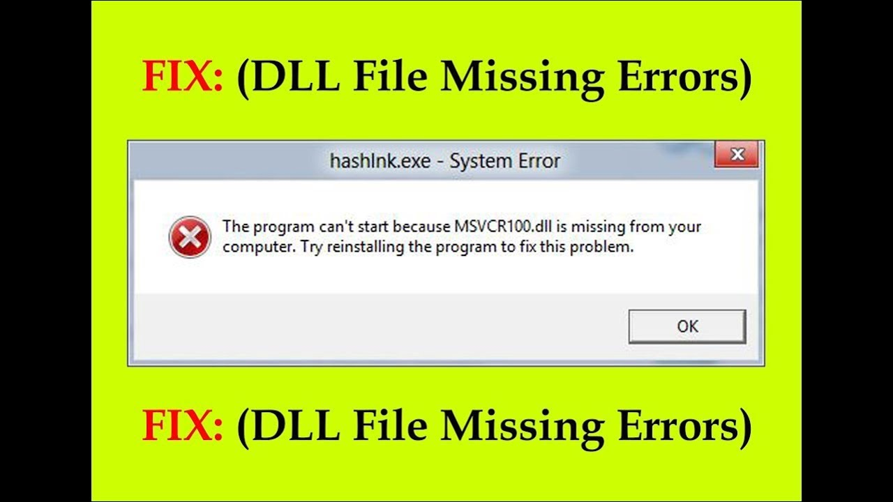 How to fix Missing DLL errors in Windows 7